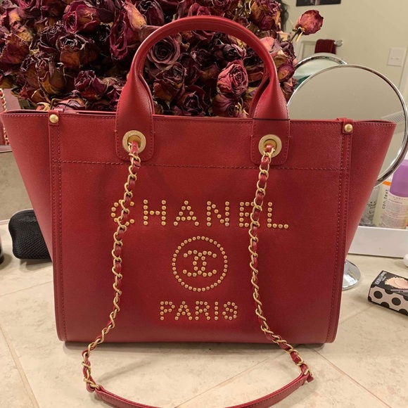 6dcfcac44fed CHANEL Bags | Burgundy Studded Leather Deauville Tote | Poshmark